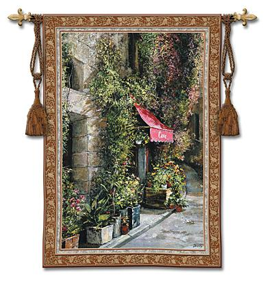 St Moritz Cafe Cityscape Wall Tapestry - Street Cafe Scene, 53in X 73in