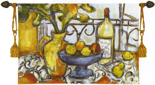 Still Life With Black And White Fruit & Wine Tapestry Wall Hanging, 53in X 32in