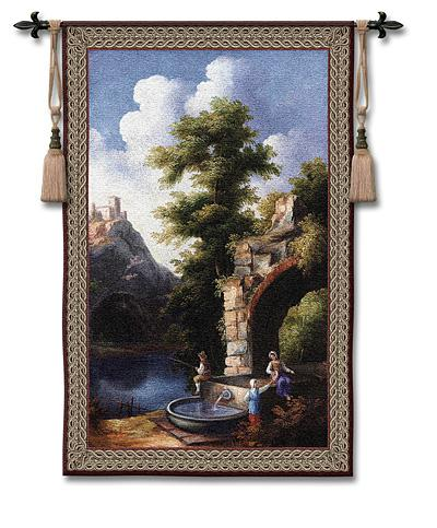 Stolen Moments Landscape Tapestry Wall Hanging - Old World Picture, 34in X 53in