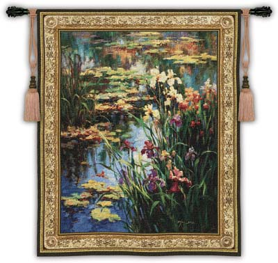 Summer Lily Garden Tapestry Wall Hanging, 53in X 64in