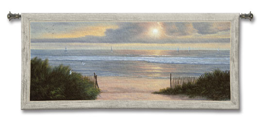 Summer Moments II Coastal Tapestry Wall Hanging - Beach Scene, 53in X 24in