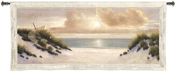 Summer Moments Coastal Tapestry Wall Hanging - Ocean View, 53in X 23in