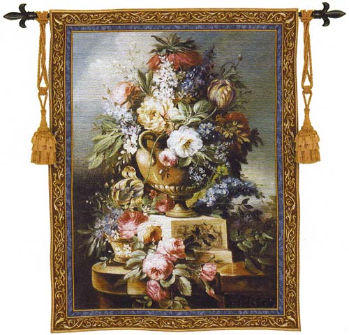 Summer Of Peace Floral Tapestry - Flowers In Vase Picture, 43in X 53in