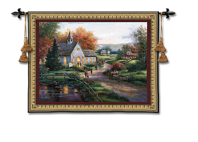 Sunday Services Tapestry Wall Hanging, 53in X 41in