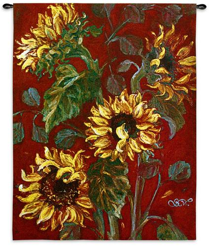 Sunflowers I Floral Tapestry Wall Hanging - Botanical Design In Bright Colors, 40in X 53in
