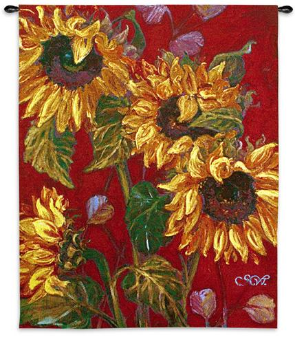 Sunflowers II Floral Still Life Tapestry Wall Hanging - Modern Botanica Design, 40in X 53in