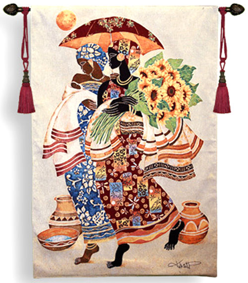 Sunflowers And Umbrella Ethnic Tapestry Wall Hanging - Mahagony Motif, 37in X 52in