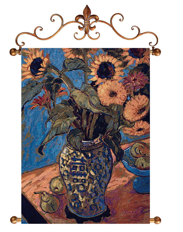 Sunflowers & Pears Floral Still Life Tapestry - Sunflowers In A Vase Picture, 26in X 36in