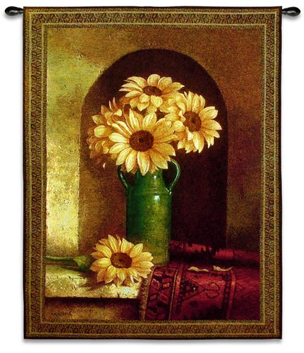Sunflowers With Persian Rug Still Life Wall Tapestry - Floral Bouquet, 40in X 53in