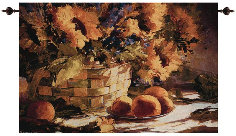 Sunflowers With Purple Still Life Tapestry - Floral Basket Picture, 70in X 47in