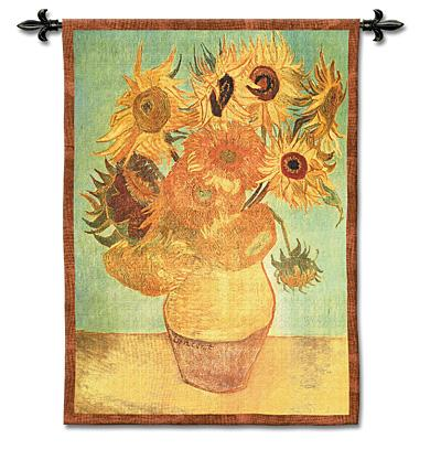 Sunflowers Floral Tapestry Wall Hanging - Vincent Van Gogh'S Flowers, 38in X 53in