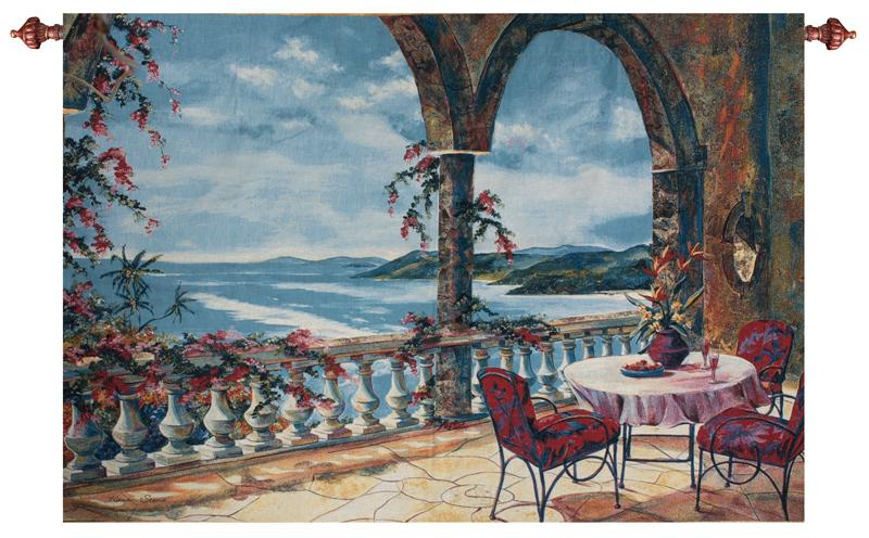Sunset Over The Caribbean Seaside Terrace Tapestry Wall Hanging, 70in X 50in