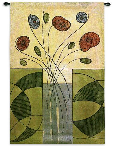Sur La Table Contemporary Tapestry Wall Hanging - Abstract Collage With Flowers, 35in X 52in