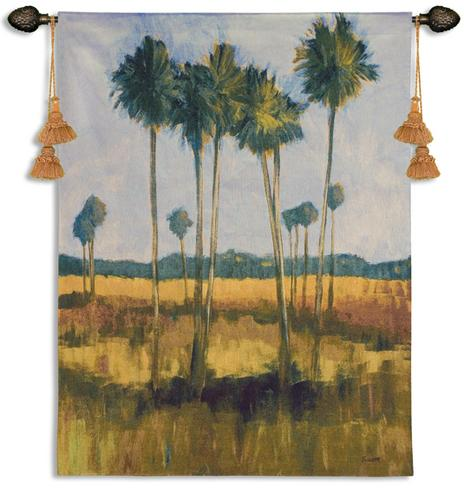 Tall Palms II Tropical Landscape Tapestry Wall Hanging, 39in X 53in