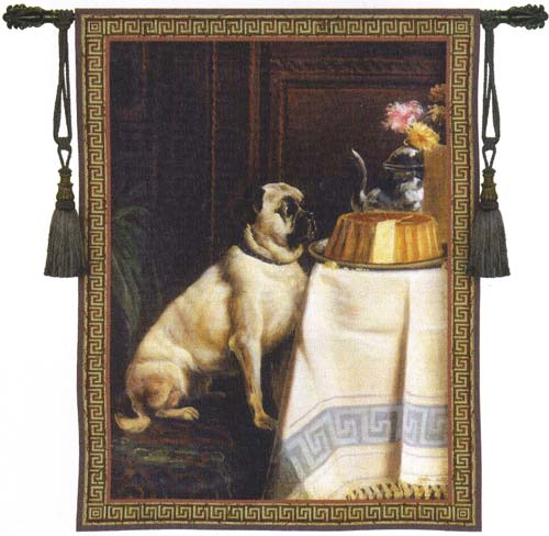 Temptation Animal Tapestry Wall Hanging - Dog Picture, 40in X 53in