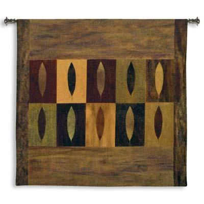 Ten Leaves Contemporary Tapestry Wall Hanging - Abstract Collage With Leaves, 52in X 51in