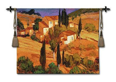 Terracotta Afternoon European Landscape Wall Tapestry - Tuscan Village Scene, 53in X 43in