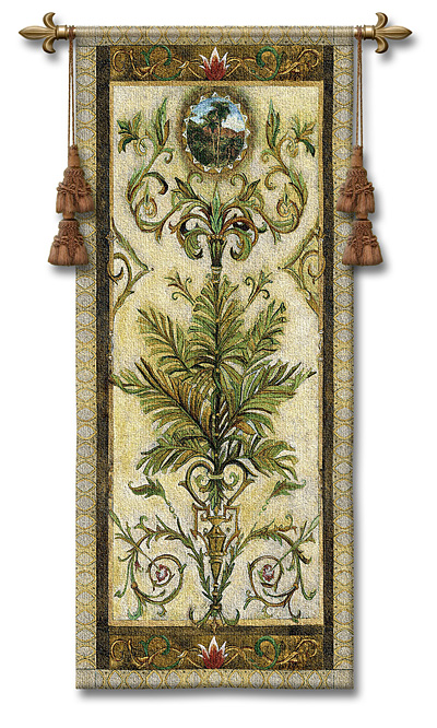 Textured View II Tapestry Wall Hanging - Tropical Picture, 24in X 53in
