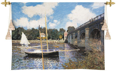 The Bridge At Argenteuil Fine Art Wall Tapestry From The Monet'S Painting, 53in X 40in
