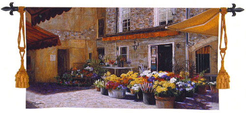 The Flower Shop Tapestry Wall Hanging - European Street Scene Picture, 53in X 34in