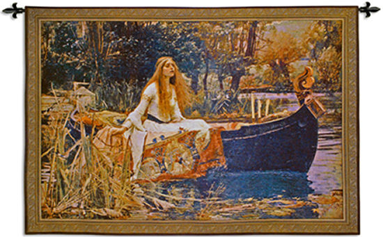 The Lady Of Shalott Medieval Arthurian Tapestry Wall Hanging - Woman Beauty Art, 63in X 43in