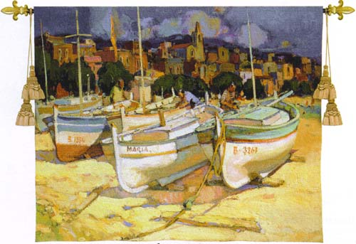 The Maria Impressionist Tapestry Wall Hanging - Nautical Scene, 53in X 43in