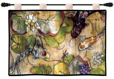 The Meeting Contemporary Tapestry Wall Hanging - Abstract Design With Fish, 53in X 35in