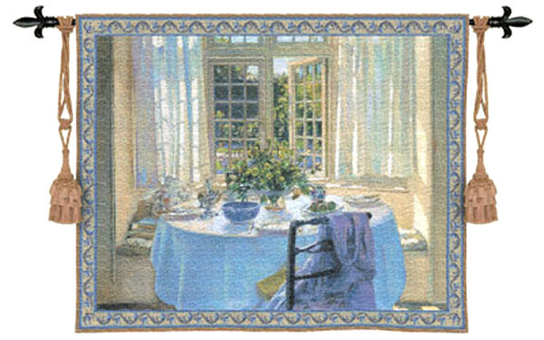 The Morning Room Wall Tapestry - Room Scene With Flowers, 75in X 53in
