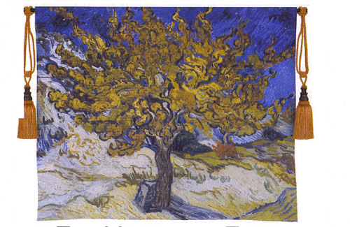 The Mulberry Tree Abstract Van Gogh Art Wall Tapestry Reproduction, 53in X 44in
