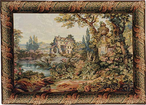The Old Mill Pastoral Tapestry Wall Hanging, 65in X 80in
