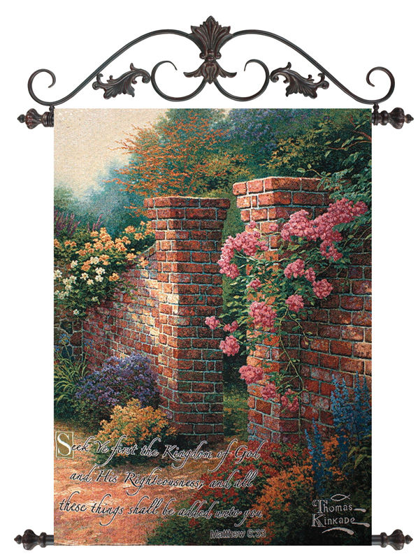 The Rose Garden Thomas Kinkade Tapestry - The Garden Gateway Picture, 26in X 36in