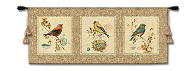 The Songbirds Bird Tapestry Wall Hanging - Panel With Birds, 65in X 26in