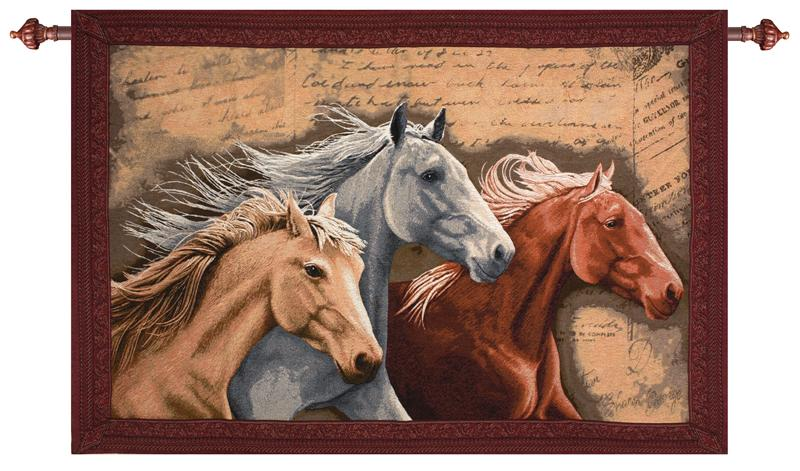 "Three Horses Tapestry Wall Hanging - Animal Picture, 26"" X 36"""