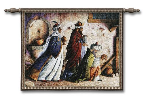Three Kings Christmas Tapestry Wall Hanging, 34in X 26in