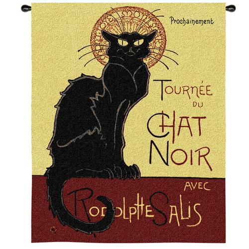 Tournee Chat Noir Animal Wall Tapestry - Black Cat Picture, 38in X 53in