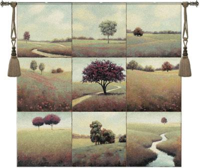 Tranquil Fields Landscape Wall Tapestry - Collage With Trees, 52in X 52in