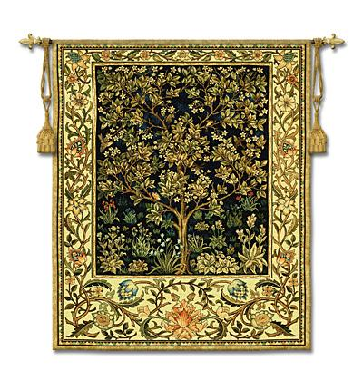 Tree Of Life Midnight Blue Mille Fleur Wall Tapestry - William Morris Design, 53in X 77in