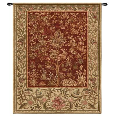 Tree Of Life Ruby Mille Fleur Wall Tapestry - William Morris Design, 53in X 77in