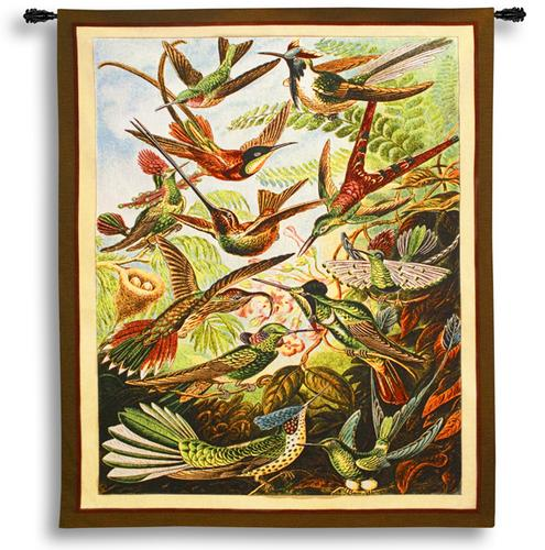 Trochilus Bird Tapestry Wall Hanging - Tropical Picture, 56in X 63in