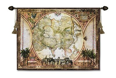 Tropic Capricorn Map Tapestry Wall Hanging - Animal Picture, 53in X 40in
