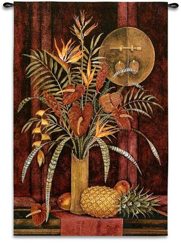 Tropical Arrangement Still Life Tapestry Wall Hanging - Flower & Fruits Picture, 35in X 53in