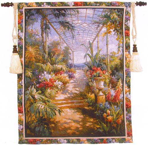 Tropical Breezeway Landscape Tapestry Wall Hanging, 42in X 53in