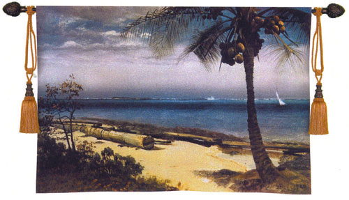 Tropical Coast Fine Art Wall Tapestry Seascape Painting, 53in X 37in