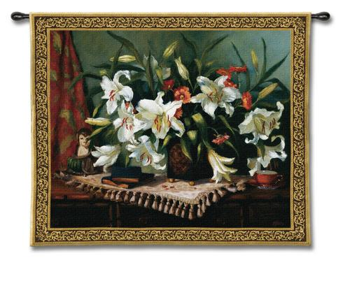 Tropical Lilies Still Life Wall Tapestry - Floral Bouquet In A Vase, 53in X 43in