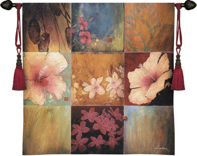 Tropical Nine Patch II Contemporary Tapestry Fine Art Picture, 53in X 53in