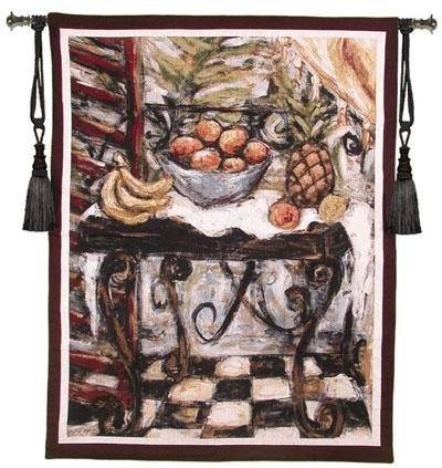Tropical Table Still Life Wall Tapestry - Fruits On The Table, 41in X 53in