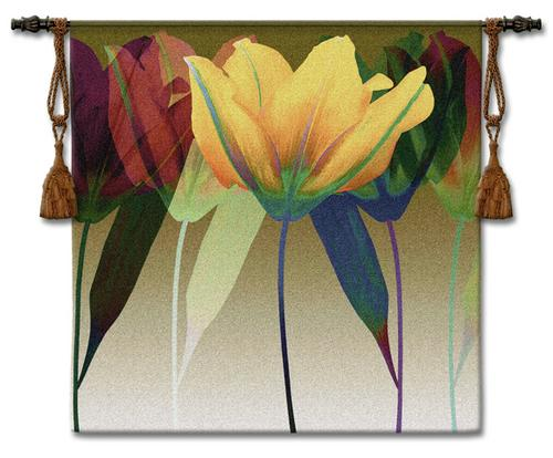 Tulip Modern Tapestry Wall Hanging - Contemporary Floral Design, 51in X 51in