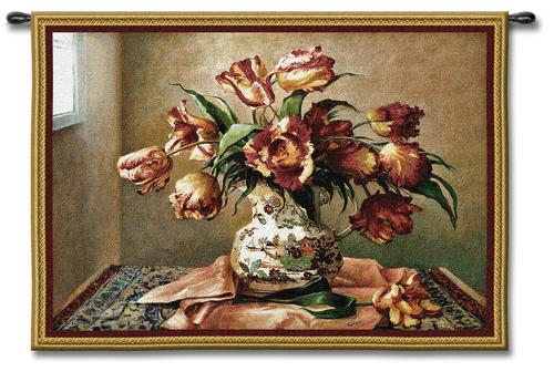Tulips In Oriental Vase Still Life Tapestry Wall Hanging - Floral Bouquet Picture, 53in X 36in