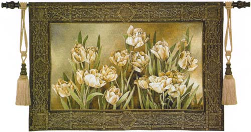 Tulips In The Window Tapestry Wall Hanging - Botanical Picture, 53in X 36in