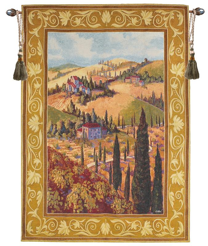 Tuscan Hillside Tapestry Wall Hanging - Italian Countryside Picture, 53in X 35in